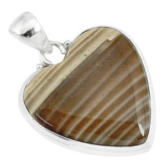 16.20cts natural grey striped flint ohio heart 925 silver pendant r83211