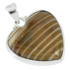17.22cts natural grey striped flint ohio heart shape 925 silver pendant r83214