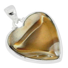 17.57cts natural grey striped flint ohio heart shape 925 silver pendant r83215