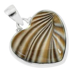 15.62cts natural grey striped flint ohio heart shape 925 silver pendant r83216