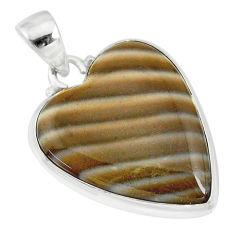 14.72cts natural grey striped flint ohio heart shape 925 silver pendant r83218