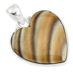 13.70cts natural grey striped flint ohio heart shape 925 silver pendant r83219
