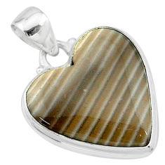 15.65cts natural grey striped flint ohio heart shape 925 silver pendant t13286