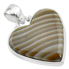 18.15cts natural grey striped flint ohio heart shape 925 silver pendant t13305