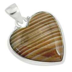 16.20cts natural grey striped flint ohio heart sterling silver pendant r83184
