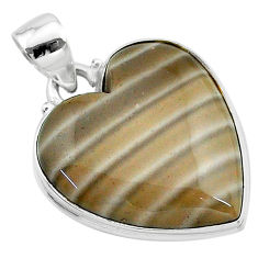 17.57cts natural grey striped flint ohio heart sterling silver pendant t13274