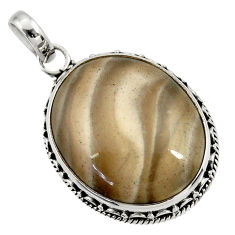 22.02cts natural grey striped flint ohio oval 925 sterling silver pendant d41541