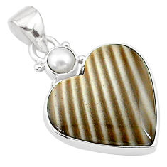 14.23cts natural grey striped flint ohio white pearl 925 silver pendant t13132