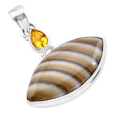 17.55cts natural grey striped flint ohio yellow citrine silver pendant t28566