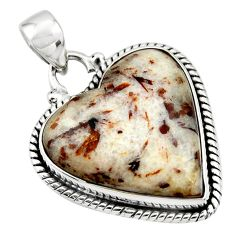 18.60cts natural heart astrophyllite (star leaf) 925 silver pendant r45973