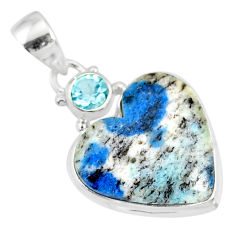 12.58cts natural heart k2 (azurite in quartz) topaz 925 silver pendant r86322