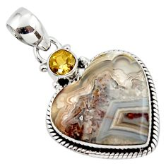 14.07cts natural heart mexican laguna lace agate 925 silver pendant r43956