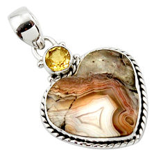 14.35cts natural heart mexican laguna lace agate 925 silver pendant r43958