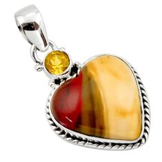 14.35cts natural heart mookaite citrine 925 sterling silver pendant r44066