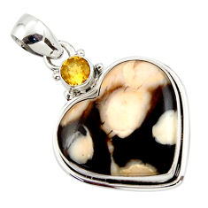 15.72cts natural heart peanut petrified wood fossil 925 silver pendant r43976
