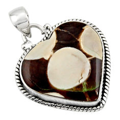 15.53cts natural heart peanut petrified wood fossil 925 silver pendant r45968