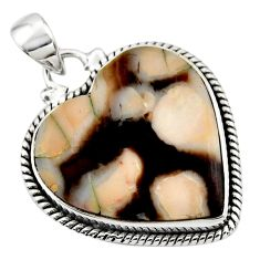 15.46cts natural heart peanut petrified wood fossil 925 silver pendant r45969