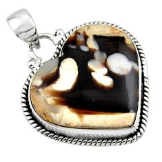 18.15cts natural heart peanut petrified wood fossil 925 silver pendant r45971