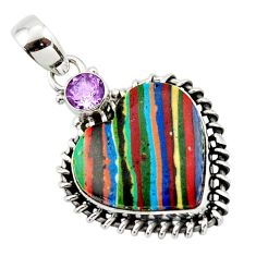 13.78cts natural heart rainbow calsilica amethyst 925 silver pendant r43979
