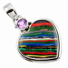13.73cts natural heart rainbow calsilica amethyst 925 silver pendant r43980