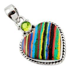 12.15cts natural heart rainbow calsilica peridot 925 silver pendant r43944