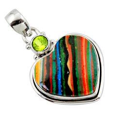 14.40cts natural heart rainbow calsilica peridot 925 silver pendant r43977