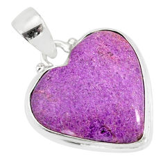 10.65cts natural heart stichtite 925 sterling silver pendant jewelry r86364
