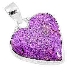 12.58cts natural heart stichtite 925 sterling silver pendant jewelry r86376