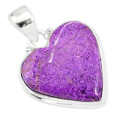 11.73cts natural heart stichtite 925 sterling silver pendant jewelry r86377