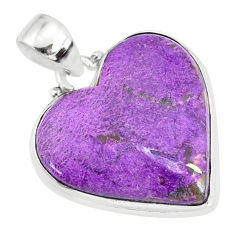 14.23cts natural heart stichtite 925 sterling silver pendant jewelry r86378