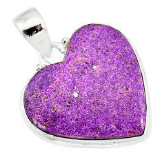 12.22cts natural heart stichtite 925 sterling silver pendant jewelry r86379