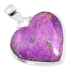 12.58cts natural heart stichtite 925 sterling silver pendant jewelry r86380
