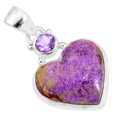 10.65cts natural heart stichtite amethyst 925 sterling silver pendant r86361