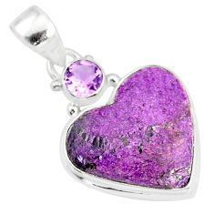 11.73cts natural heart stichtite amethyst 925 sterling silver pendant r86368