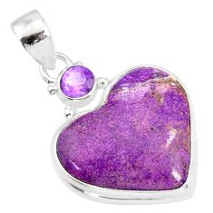 13.70cts natural heart stichtite amethyst 925 sterling silver pendant r86369