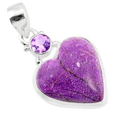 12.22cts natural heart stichtite amethyst 925 sterling silver pendant r86370