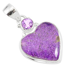 10.65cts natural heart stichtite amethyst 925 sterling silver pendant r86371