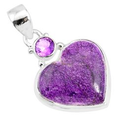 12.22cts natural heart stichtite amethyst 925 sterling silver pendant r86372