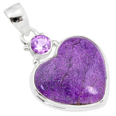 13.17cts natural heart stichtite amethyst 925 sterling silver pendant r86373