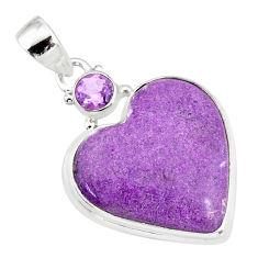 12.58cts natural heart stichtite amethyst 925 sterling silver pendant r86374