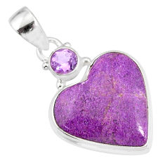11.73cts natural heart stichtite amethyst 925 sterling silver pendant r86375