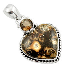 15.12cts natural heart turritella fossil snail agate 925 silver pendant r43945