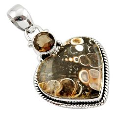 16.48cts natural heart turritella fossil snail agate 925 silver pendant r43947