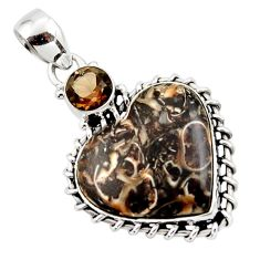 15.55cts natural heart turritella fossil snail agate 925 silver pendant r43952