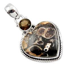 15.17cts natural heart turritella fossil snail agate 925 silver pendant r43953