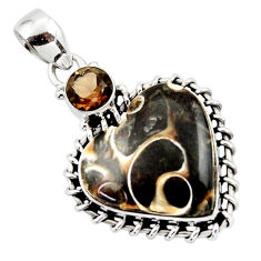 16.83cts natural heart turritella fossil snail agate 925 silver pendant r43954