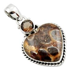 15.60cts natural heart turritella fossil snail agate 925 silver pendant r43959