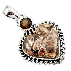 17.32cts natural heart turritella fossil snail agate 925 silver pendant r43960