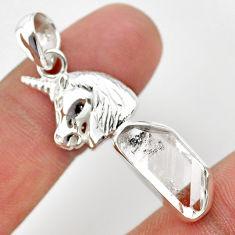 7.04cts natural herkimer diamond 925 sterling silver unicorn pendant t29691