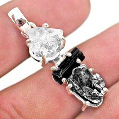 Natural herkimer diamond campo del cielo tourmaline raw silver pendant t49382